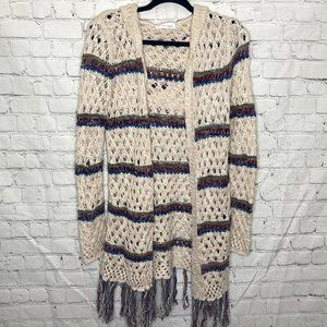 love tribe loose knit striped cardigan with fringe